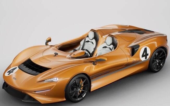 McLaren Elva na versão com pintura de competição e com uma das cores mais tradicionais da marca inglesa famosa pela equipe de Fórmula 1