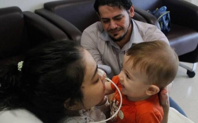 O reencontro entre mãe e filho foi organizado com todo o cuidado pela equipe do hospital que acompanham o caso