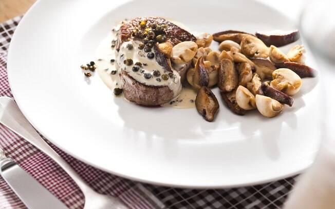Foto da receita Filé ao poivre com cogumelos pronta.