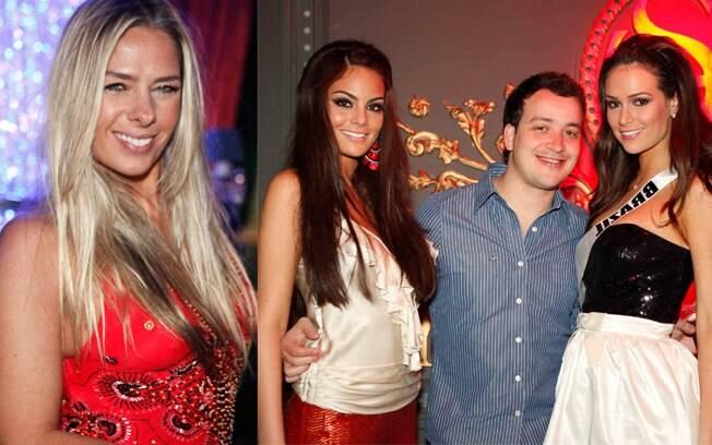 Adriane Galisteu e o apresentador Rafael Cortez prestigiaram a festa na boate The Society