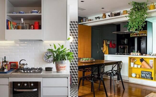 Estantes e bancadas também são excelentes espaços para receber vasos de plantas