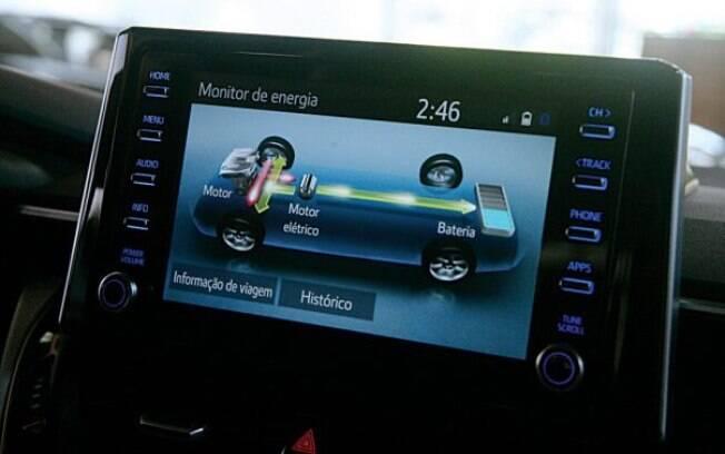 Além das configurações de mídia, a central do Corolla mostra o diagrama de eletrificação
