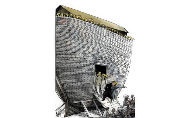 Como uma Arca de Noé ao contrário, cartunista mexicano pinta o infame muro como um dispositivo de exclusão