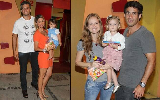 Flavia Alessandra com Olívia e Otaviano Costa, e o casal Fernanda Rodrigues e Raoni Carneiro com a filha Luisa
