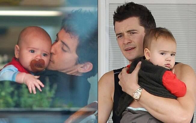 Orlando Bloom com Flynn em junho de 2011 e hoje, com 1 ano e dois meses