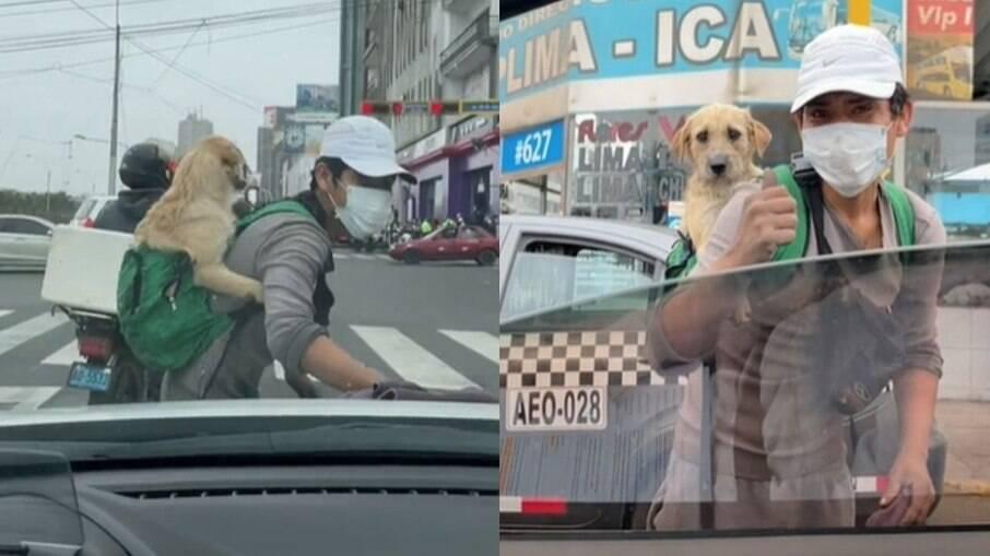 Jovem que leva cachorro para trabalhar todos os dias viraliza na web