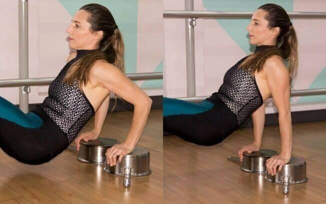 Também use as panelas para ter apoio para fazer a elevação de quadril e ainda trabalhar tríceps, o músculo do tchauzinho. Cuidado para que as panelas não escorreguem no chão. Foto: Dani Carreira