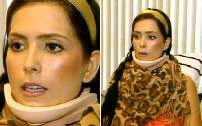 A Miss Brasil Débora Lyra já em recuperação, durante entrevista para o Fantástico no último domingo (8)