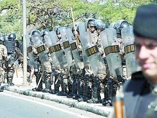 Batalhão de Choque da PM no entorno do Mineirão, na partida entre Argentina e Irã, no dia 21