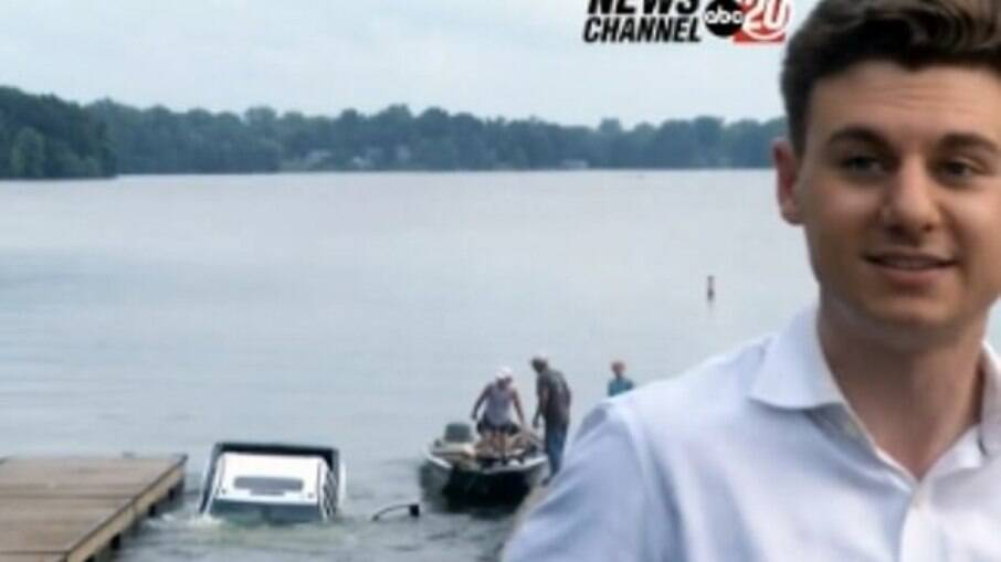 Cena foi capturada durante entrada do repórter do canal ABC NewsChannel 20, próxima ao lago Springfield, em Illinois