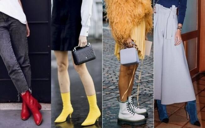 As botas podem ser adaptadas até durante os dias mais quentes, combinadas com saias, shorts e vestidos mais leves