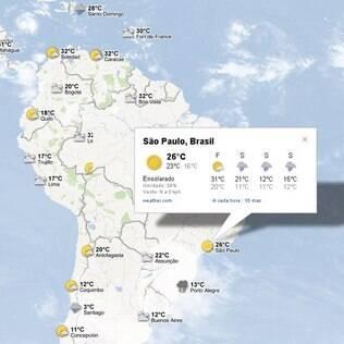 Ao clicar nos ícones, usuário vê detalhes sobre a previsão para os próximos dias