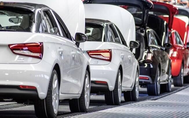 Linha de montagem do Audi A1, em Bruxelas, na Bélgica