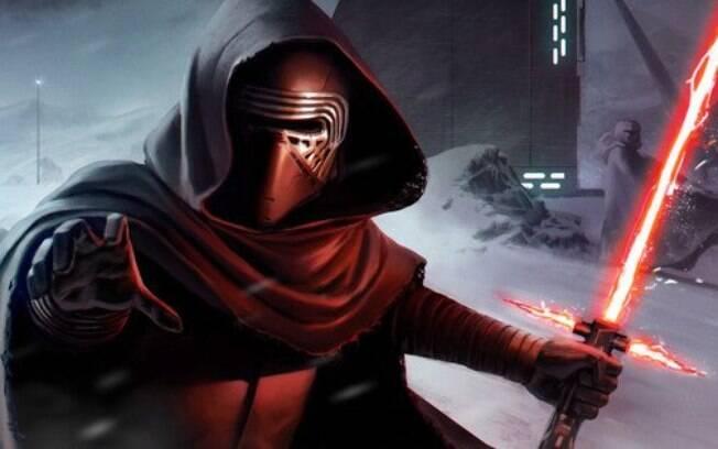 Kylo Ren e seu sabre de luz com três lâminas