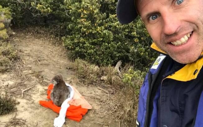 Sean colocou o coala dentro de uma manta e o devolveu para terra firme