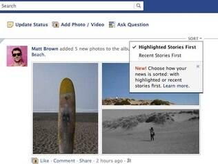 No topo do feed de notícias, nova opção permitirá personalizar ordem das atualizações dos amigos
