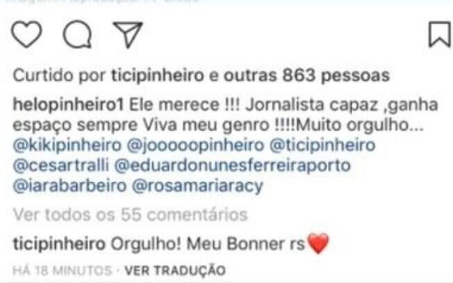 Ticiane Pinheiro, apresentadora e esposa de César Tralli, comemora nova conquista do apresentador