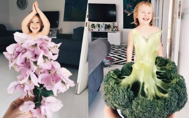 Mãe artista cria vestidos divertidos para filha utilizando apenas  flores e alimentos e faz sucesso nas redes sociais
