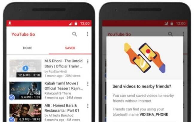 Youtube Go também permite a transferência de vídeos via bluetooth entre dois celulares que têm o aplicativo instalado