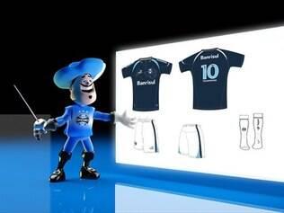 Camiseta azul marinho e calção branco formam o quarto uniforme do time  gaúcho dbd4f0f6227fd