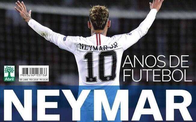 Capa da revista Placar que homenageia os 10 anos de carreira do atacante Neymar