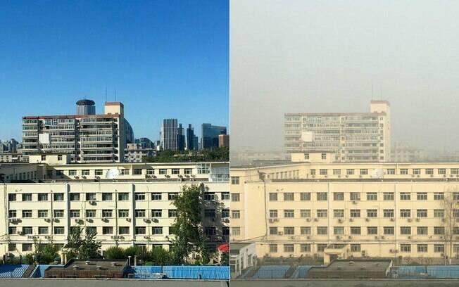 Vista da janela da jornalista em um dia de céu claro e em outro com nuvem de poluição