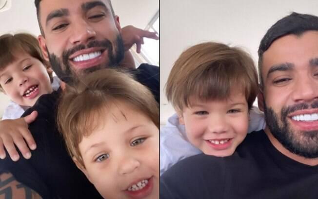 Gusttavo Lima posta foto com os filhos pela primeira vez desde o divórcio