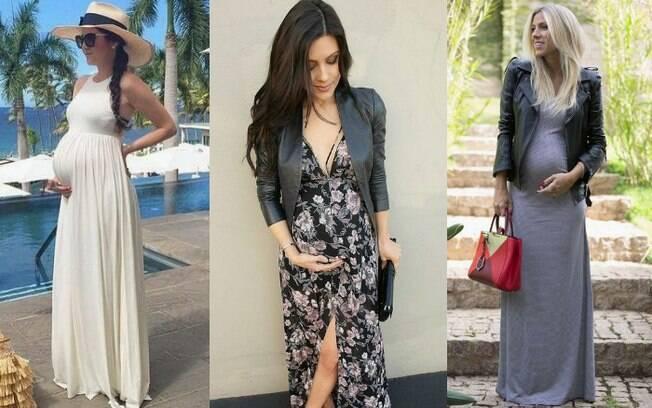 Vestidos longos podem ser usados até com estampas, sem problema algum, basta ficar de olho no corte do modelo