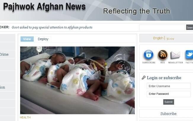 A foto dos bebês foi publicada no site de uma agência de notícias afegã