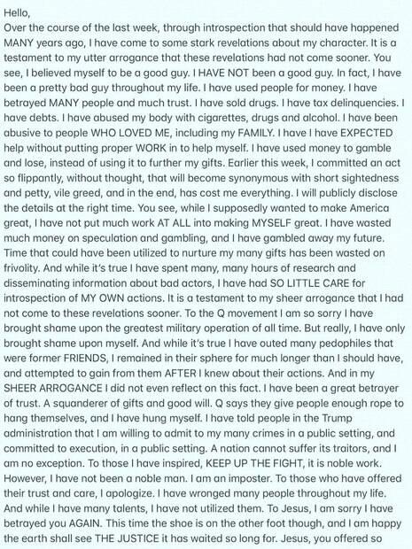 Isaac Kappy deixa carta em seu Instagram horas antes de morrer