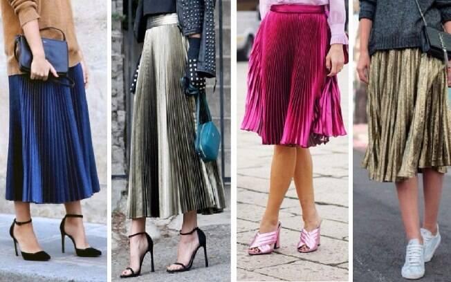 Combinação fashionista, está entre as preferidas das adeptas ao uso da saia plissada