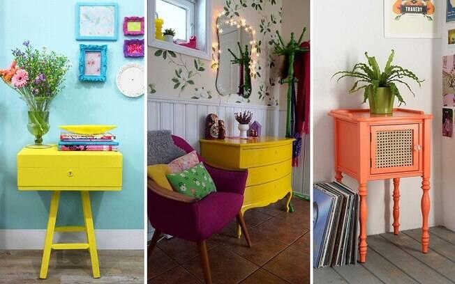 Móveis coloridos dão um toque descontraído ao ambiente