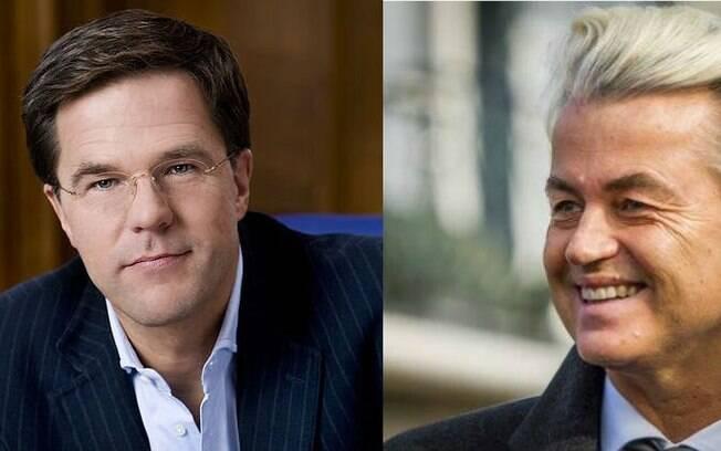 Holanda: primeiro ministro holandês Mark Rutte (Esq), do Partido Liberal, e o candidato de extrema direita, Geert Wilders