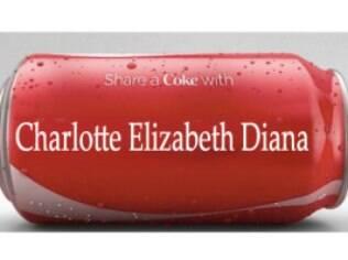 O nome da princesa Charlotte Elisabeth Diana foi parar até na latinha de refrigerante