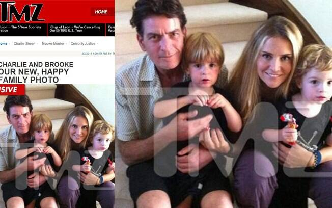 Charlie Sheen, Brooke Mueller e os filhos gêmeos, Max e Bob