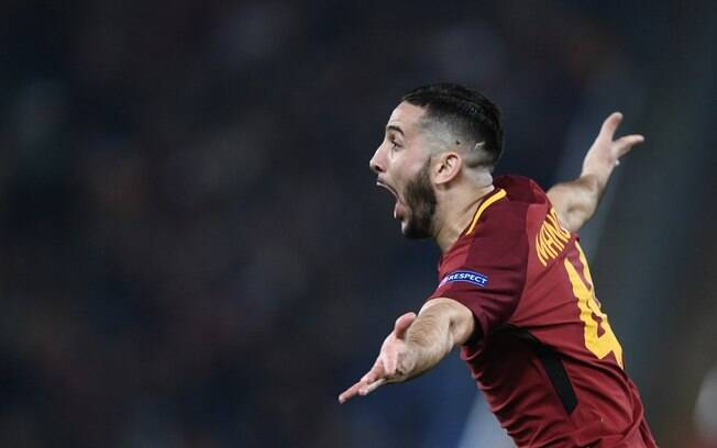 Manolas comemora gol da Roma contra o Barcelona