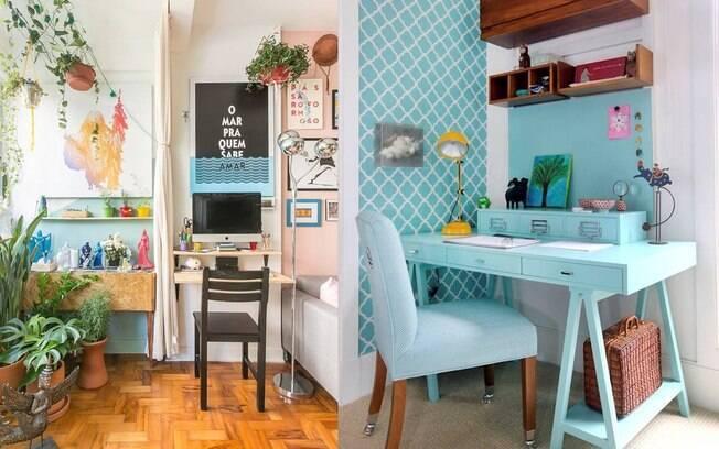 Como criado mudo ou simplesmente como uma mesa solta do quarto, o espaço para o home office pode ficar super charmoso.
