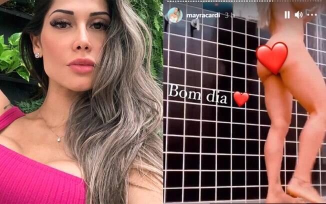 Mayra Cardi se filma durante o banho