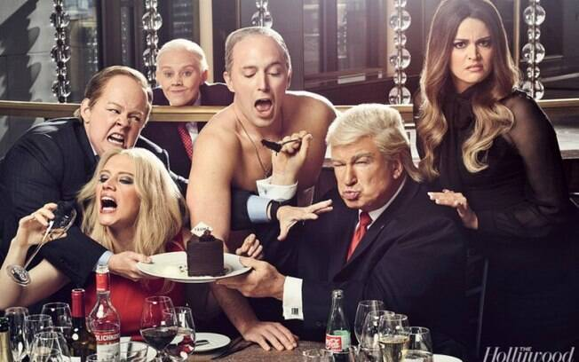 As melhores fotos de famosos de 2017: Alec Baldwin e outros atores parodiam Donald Trump e Vladmir Putin. Foto: reprodução/Hollywood Reporter