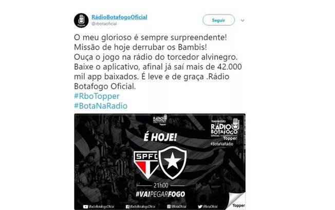 Rádio oficial do Botafogo chama São Paulo de