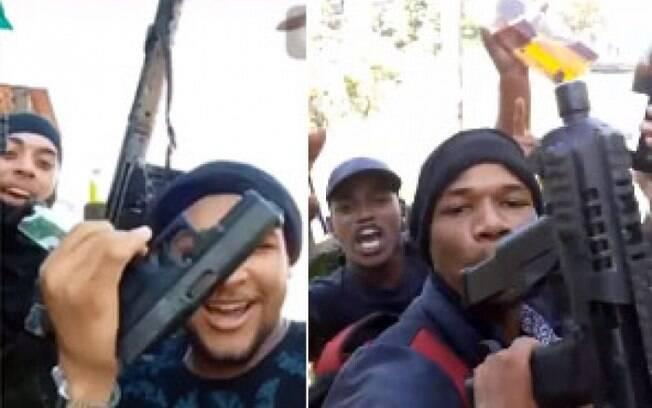 Nas imagens, traficantes ostentam armas, bebidas e munições conquistadas no confronto