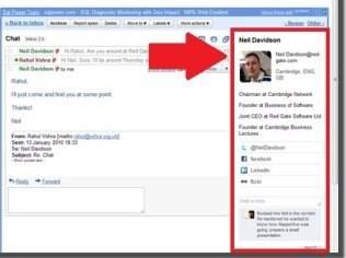 Rapportive integra Gmail a redes sociais