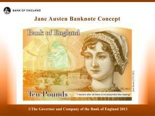 Nota de 10 libras com o rosto da novelista Jane Austen