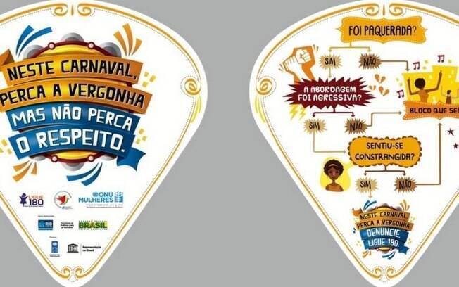 Ventarola criada para campanha de respeito a mulheres no carnaval pela ONU