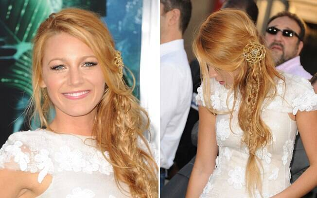 A atriz Blake Lively escolheu colocar pequenas tranças ao longo do cabelo. Fica romântico
