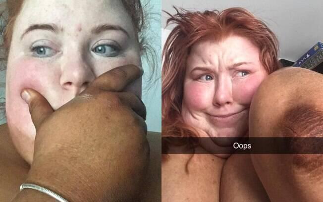 Lucy Regler tentou fazer bronzeamento artificial sozinha, mas ficou com a tonalidade das mãos diferente do rosto