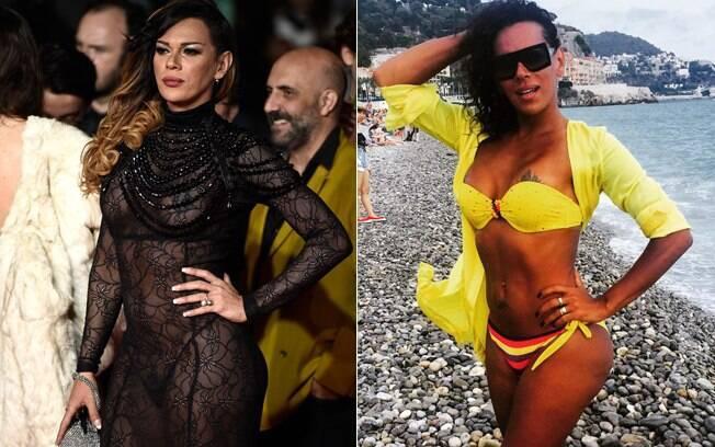 À esquerda, Stella Rocha no tapete vermelho do Festival de Cannes. Atriz é de Belém e desde os anos 90 mora em Paris, onde trabalha em uma casa noturna