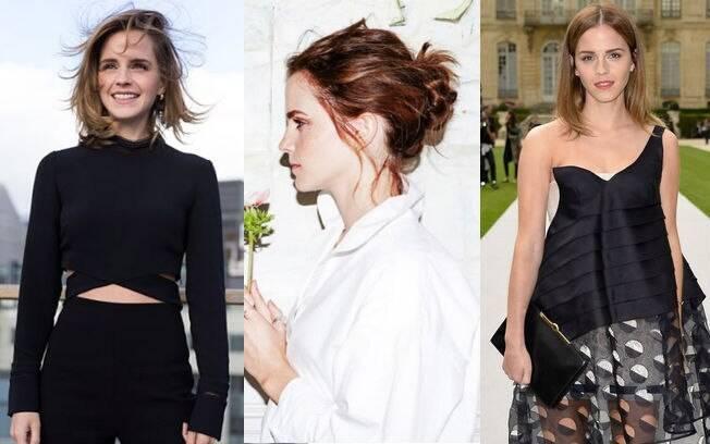 Apesar do visual sofisticado, Emma Watson aposta no messy hair e na maquiagem clean para não perder o ar jovial