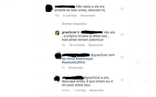 Comentários no Instagram de Gracyanne