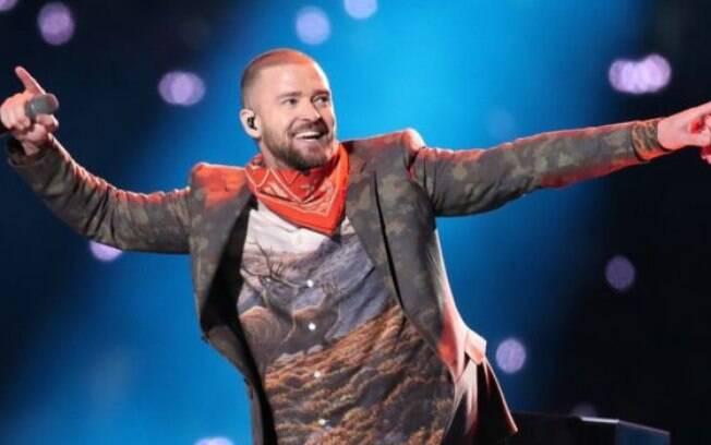 Justin Timberlake durante o show no intervalo do Super Bowl 52